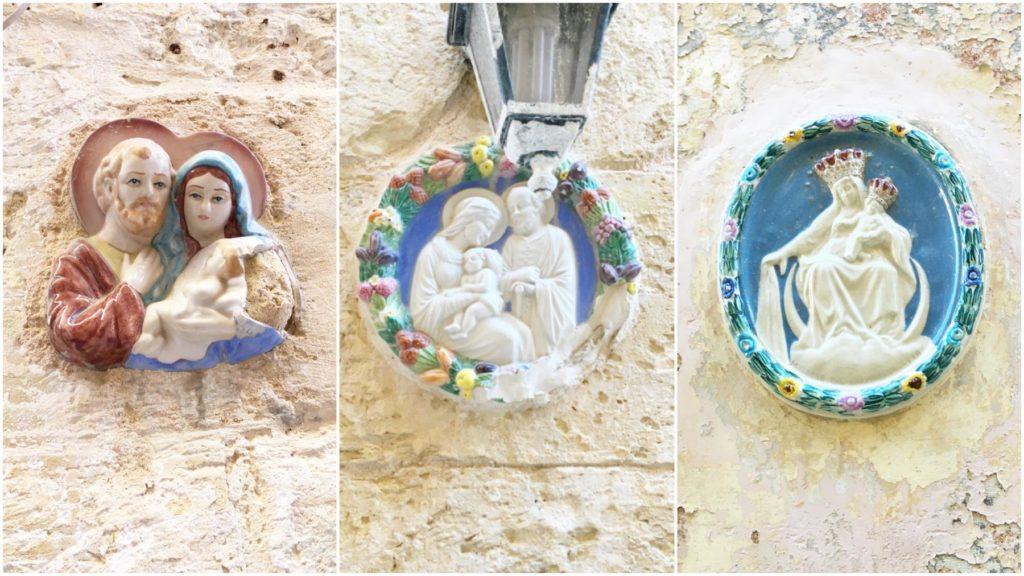 Mdina - sakralne figurki na ścianach kamienic
