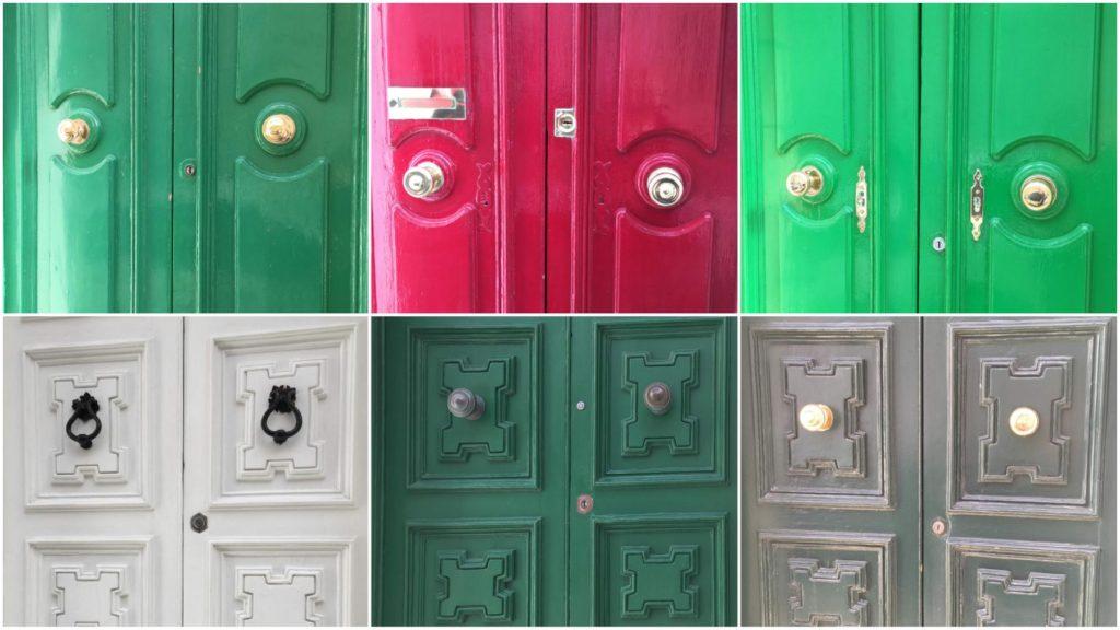 Kolorowe maltańskie drzwi, z rzeźbieniami i zdobnymi okuciami