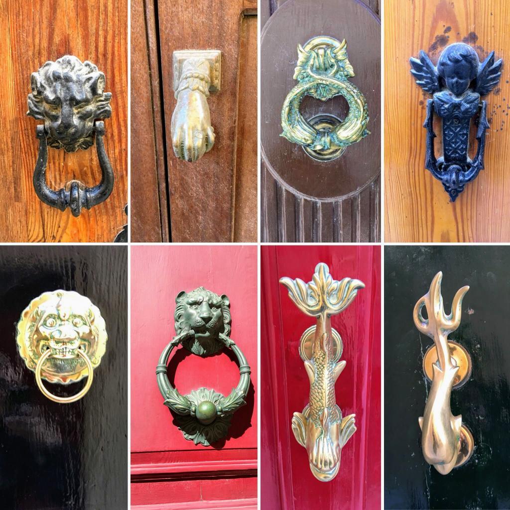 Kołatki i klamki w maltańskich drzwiach