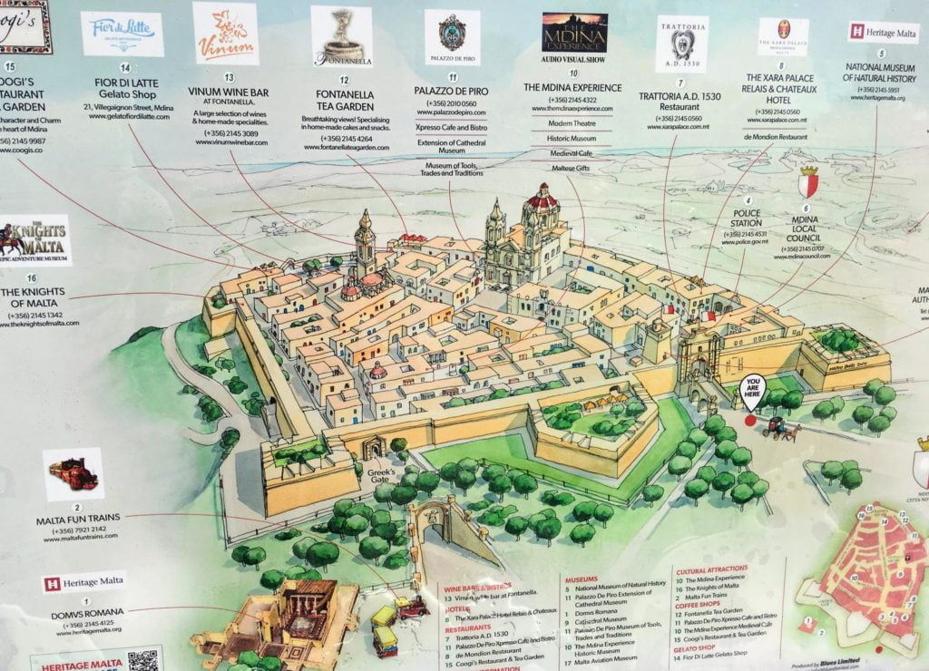 Mdina na Malcie - plan miasta