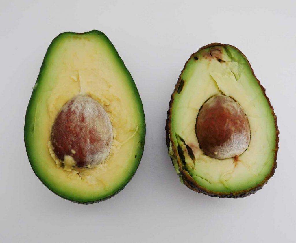 Przepołowione dwie najpopularniejsze odmiany awokado. Po lewej odmiana Fuerte, a po prawej odmiana Hass.